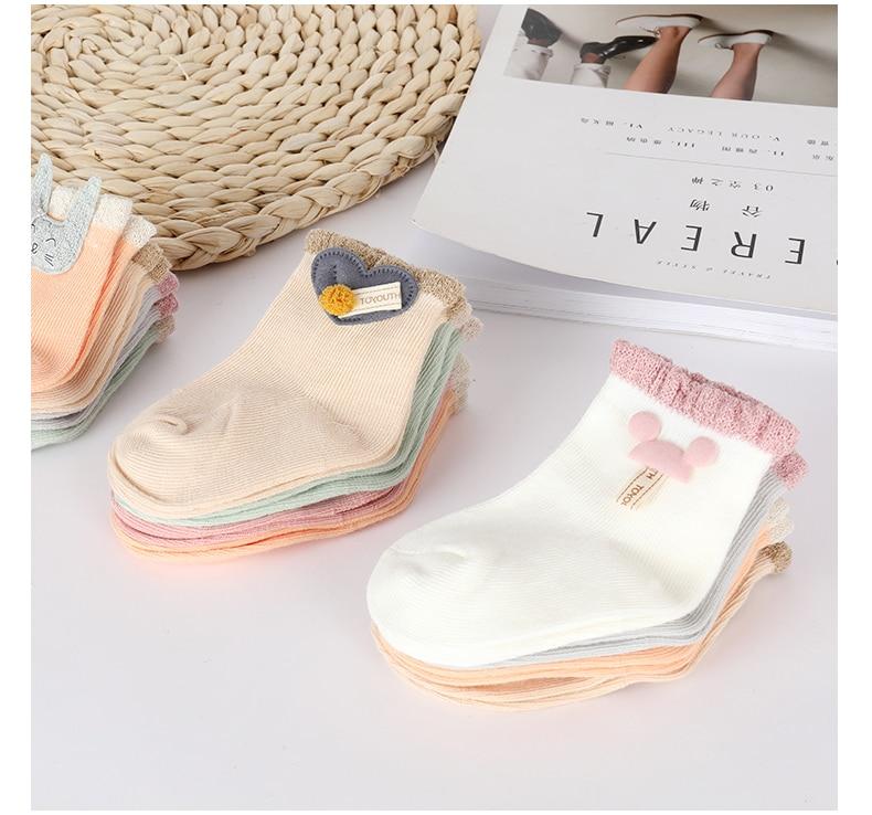Baby Socks Cotton Socks Girls Boys Newborn Socks Cartoon Decoration Boneless Suture Children Infant Socks Baby Clothing