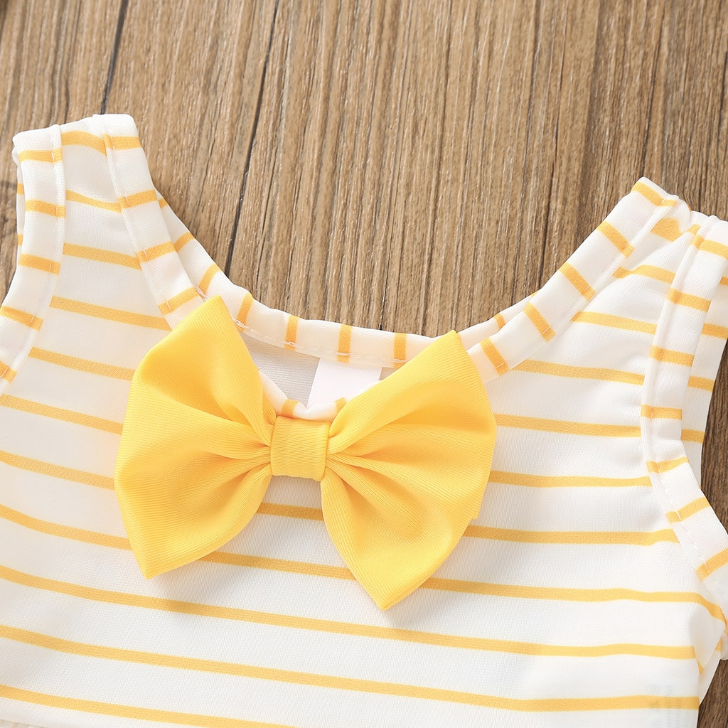 2021 New Toddler Kids Baby Girl Bow Swimsuit Striped Bathing Suit Bikini 2pc Set Swimwear Vogue Children's Swimsuit Baby Clothes