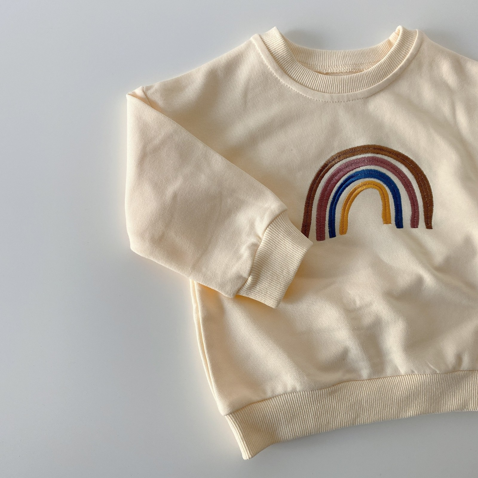 Autumn Toddler Baby Girls Boys Rainbow Embroidery Sweatshirts Tops Kids Long Sleeve T-shirt Sweatshirt Baby Clothes Outfits
