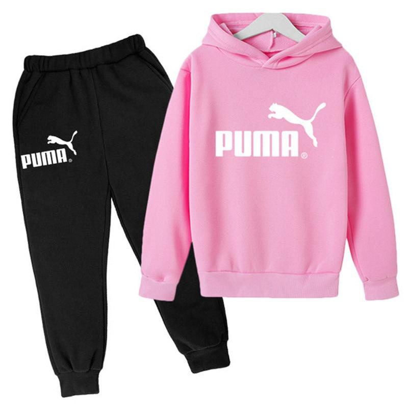 Boys Girls Clothes Sets Printing Fashion Hoodies Cotton Sports Long Pants Set Casual Children Suit For 3-14 Yrs Kids Sportwear