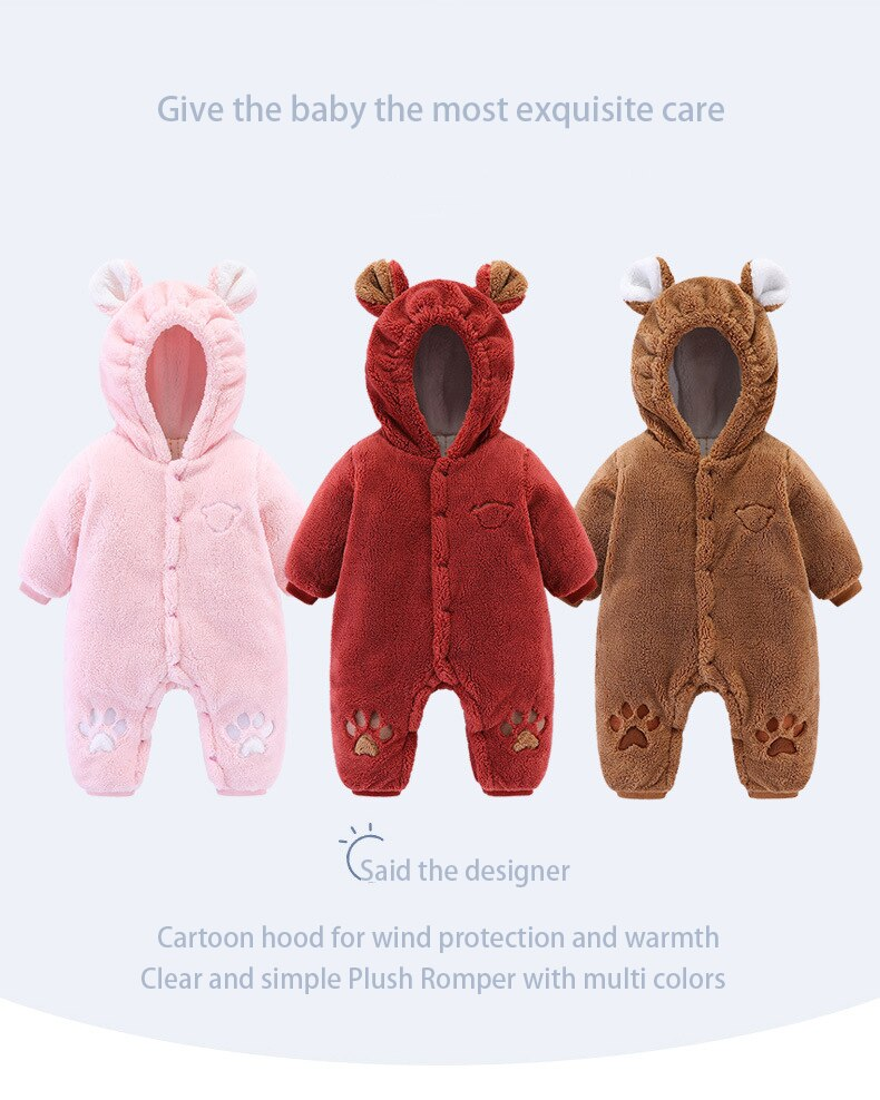 Baby girl outfit Autumn Winter Infant Clothing Thick Fluff Baby Rompers For Baby Girls Jumpsuit Newborn Baby Boys Clothes 3M-18M
