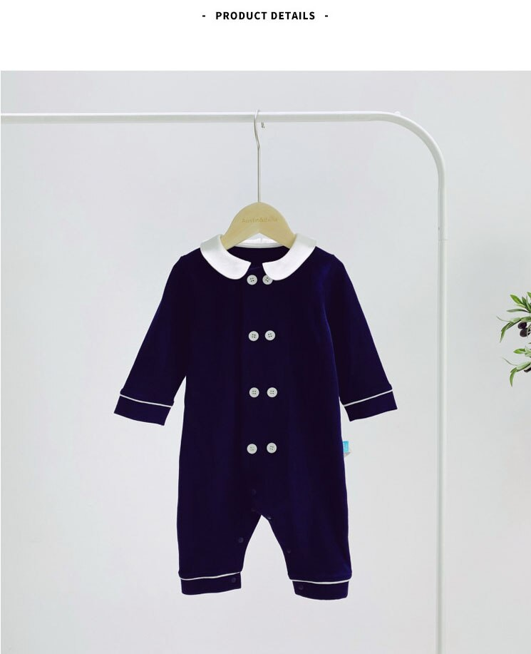 3-24M Infant Cotton Long-sleeved One-piece Clothes Spring and Autumn Boy Baby Lapel Double-breasted Romper Kids Outing Jumpsuit