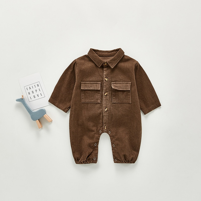 MILANCEL 2021 Spring Baby Clothes Corduroy Toddler Boys Rompers Turn Down Collar Infant Boys Suit Baby Outerwear