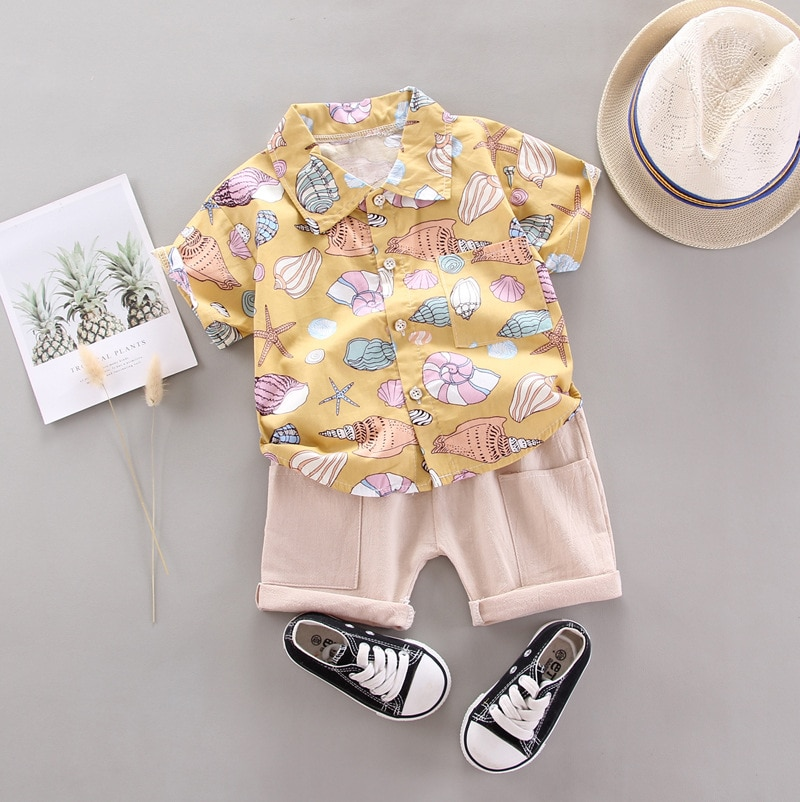 LZH Newborn Baby Clothes 2021 Summer Baby Boys Clothes shirt+Shorts 2pcs Outfits Kids Suit For Baby Boys Infant Clothing Sets