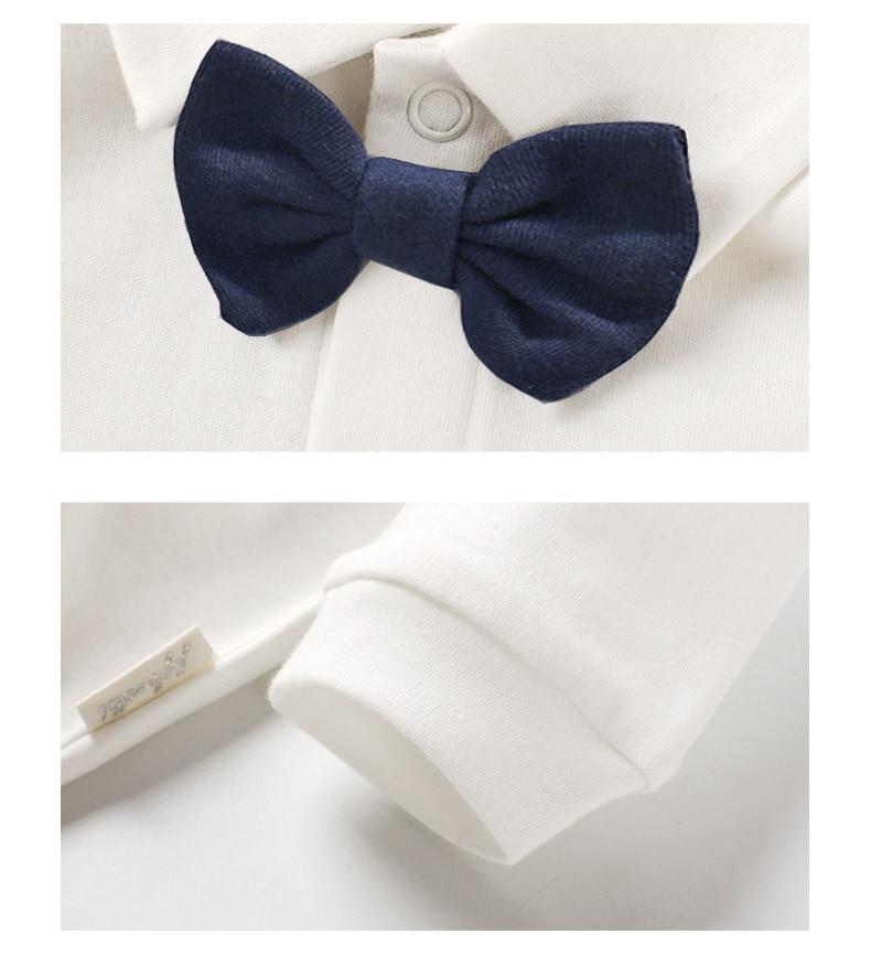 Baby Boy Romper Sets Fashion Newborn Suit Cotton White Jumpsuit + Tuxedo vest For Kids Boy Feast Wedding Birthday clothes 1-2 Y