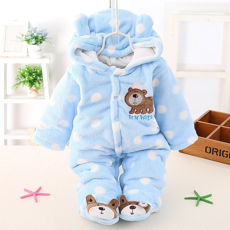 HH Baby Winter Warm Romper Newborn Girls Overall Flannel Autumn Long Sleeve for Boy Clothes Jumpsuit Costume Infant Bear Pajamas