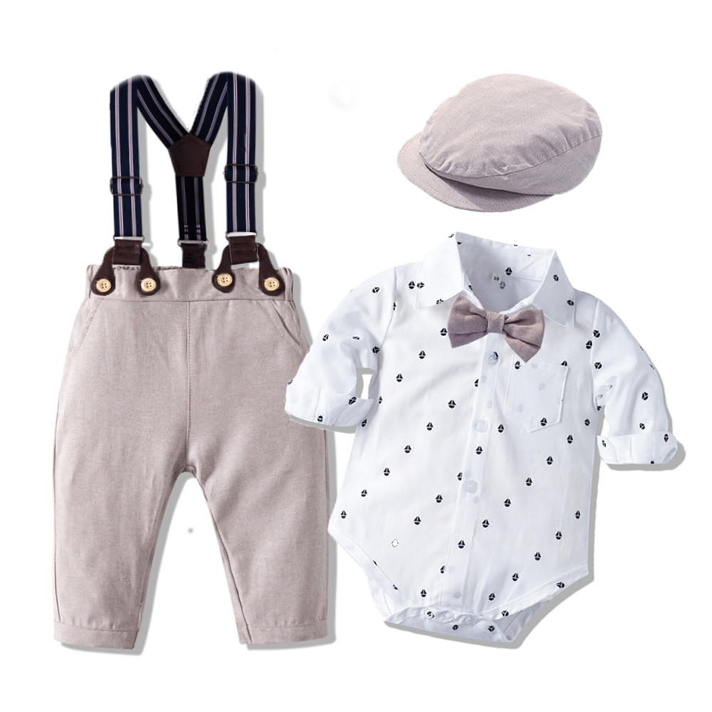 Romper Clothes Set For Baby Boy With Bow Hat Gentleman Printed Spring Suit Cotton Toddler Kids Bodysuit Infant Children Long