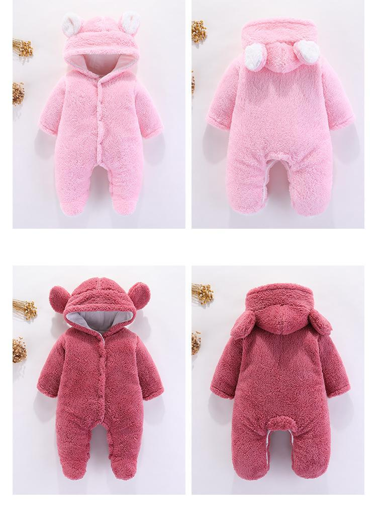 0-12m Toddler Clothes Newborn Baby Boys Girls Winter Casual Rompers Long Sleeve With Hooded Velvet Warm Baby Outfit 6 Colors