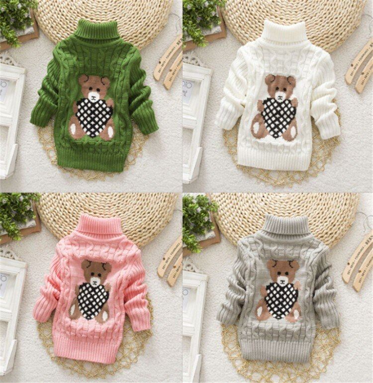Children Clothes High Quality Baby Girls Boys Pullovers Turtleneck Sweaters Autumn Winter Warm Cartoon clothes wear Kids Sweater