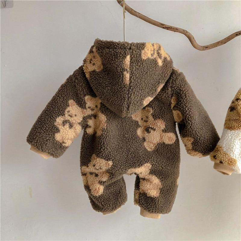 Winter Newborn Baby Cartoon Bear Print Fleece Thicken Rompers Hooded Infants Boy Warm Clothes Kids Toddler Girls Warm Jumpsuits