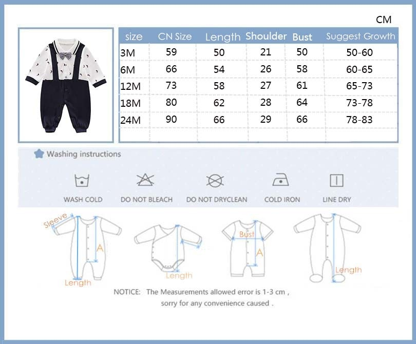 2021 new Baby Boy Romper Newborn Baby Clothes Casual Long Sleeve Gentleman boys 1th birthday party Jumpsuits infant Costume