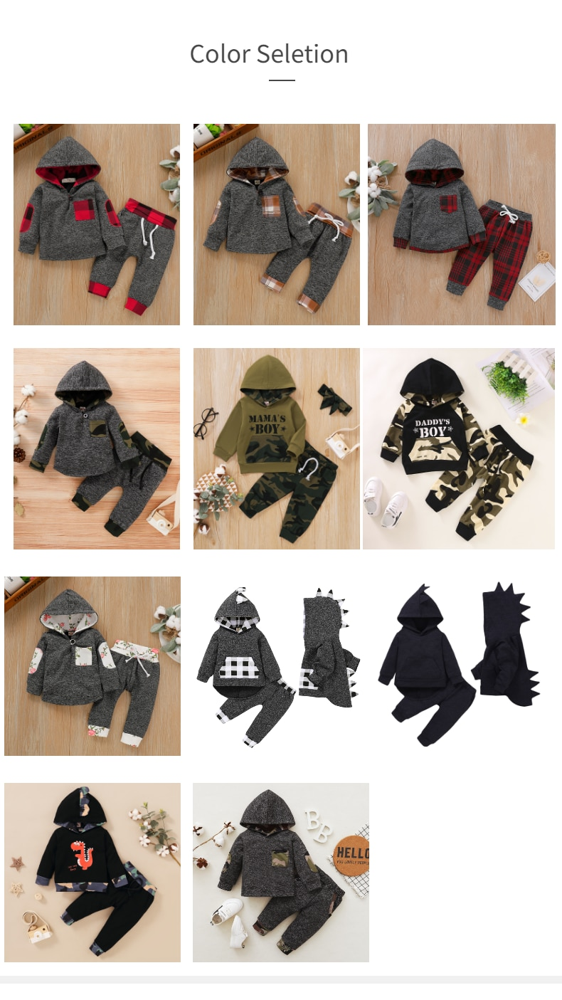 Hot Sale Free Shipping Baby Boy Clothes Soft Spring Outfits Grey Long Sleeve Hoodie Plaid/Dinosaur Pants 2PCS Set Baby Gifts