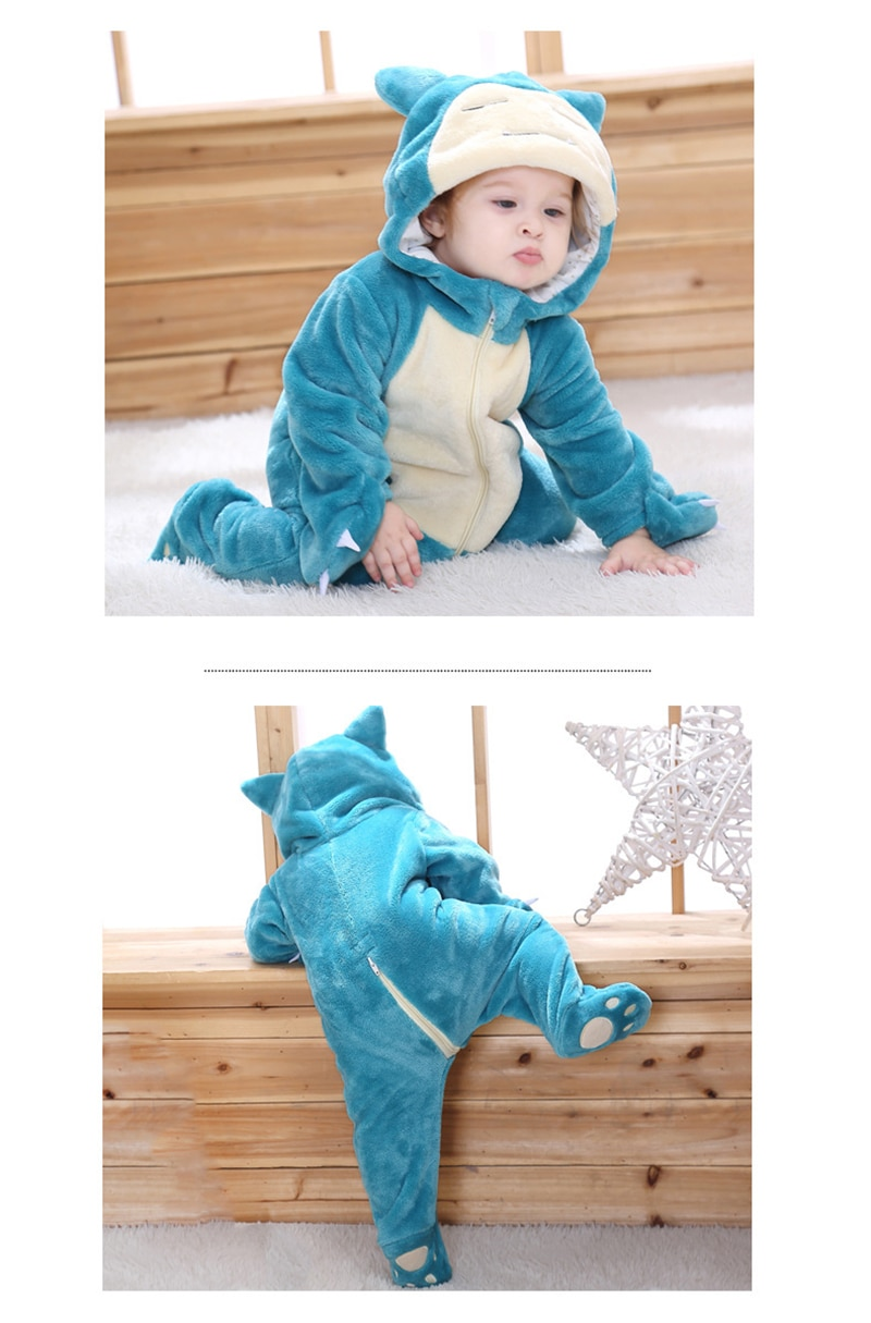 Hot Baby Animal Green Pajamas Long Sleeve Cute Anime Rompers Hooded For Boys Girls Fantasia Warm Cotton Footed Overall Clothes