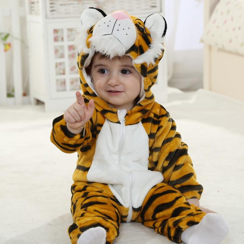 Infant Baby Rompers Clothes 0-3Y Toddler Boy Girl Newborn Cartoon Tiger Onesie Zipper Flannel Warm Baby Kawaii Cute Costume