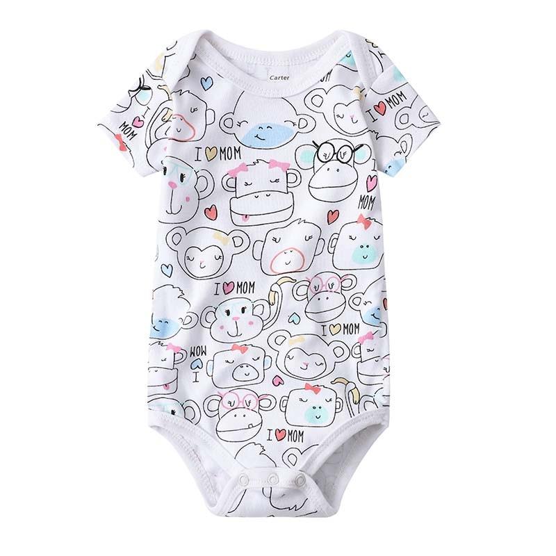 Newborn Baby Clothing 2019 New Fashion Baby Boys Girls Clothes 100% Cotton Baby Bodysuit Short Sleeve Infant Jumpsuit