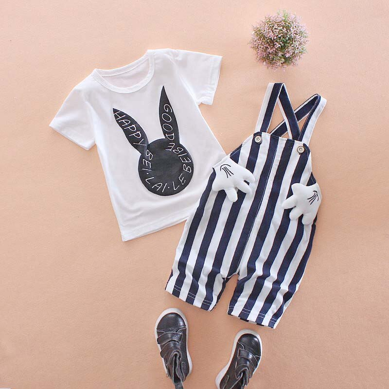 Baby Boy Clothing Sets Summer Toddler T-shirt+ Overalls Pants 2PCS Outfit Suit Newborn Sport Suits For Baby Boy Fadhion Clothes