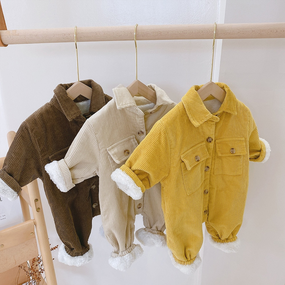 MILANCEL 2020 Winter New Boys Clothes Turn Down Collar Infant Girls Rompers Corduroy Baby Snow Suit Fur Lining Boys Outerwear