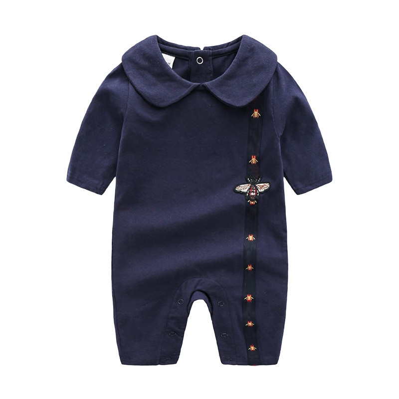 2020 newborn baby boy clothes Little bee white dark blue cotton lapels long sleeved toddler girl romper christmas 0-3 months