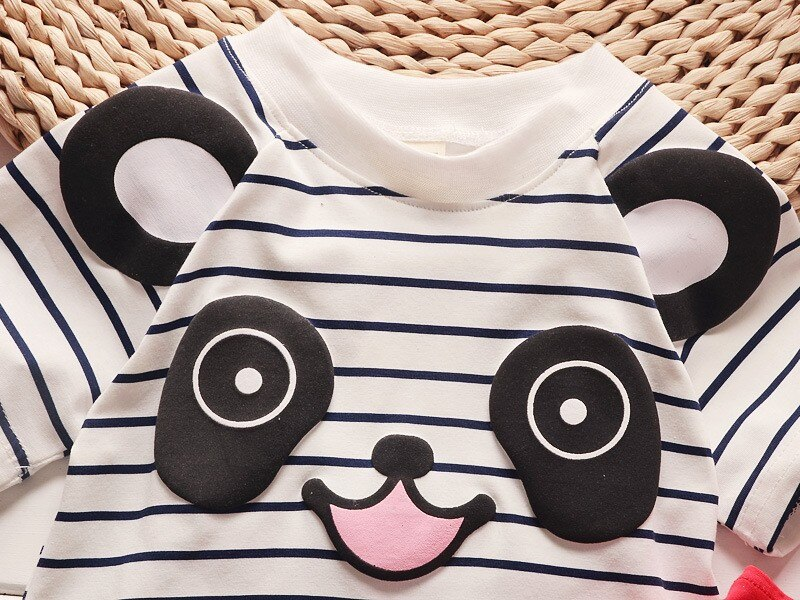 BibiCola boys clothing set baby summer panda cartoon Toddler leisure bib clothes sets for Infant suit Striped shirt braces pants