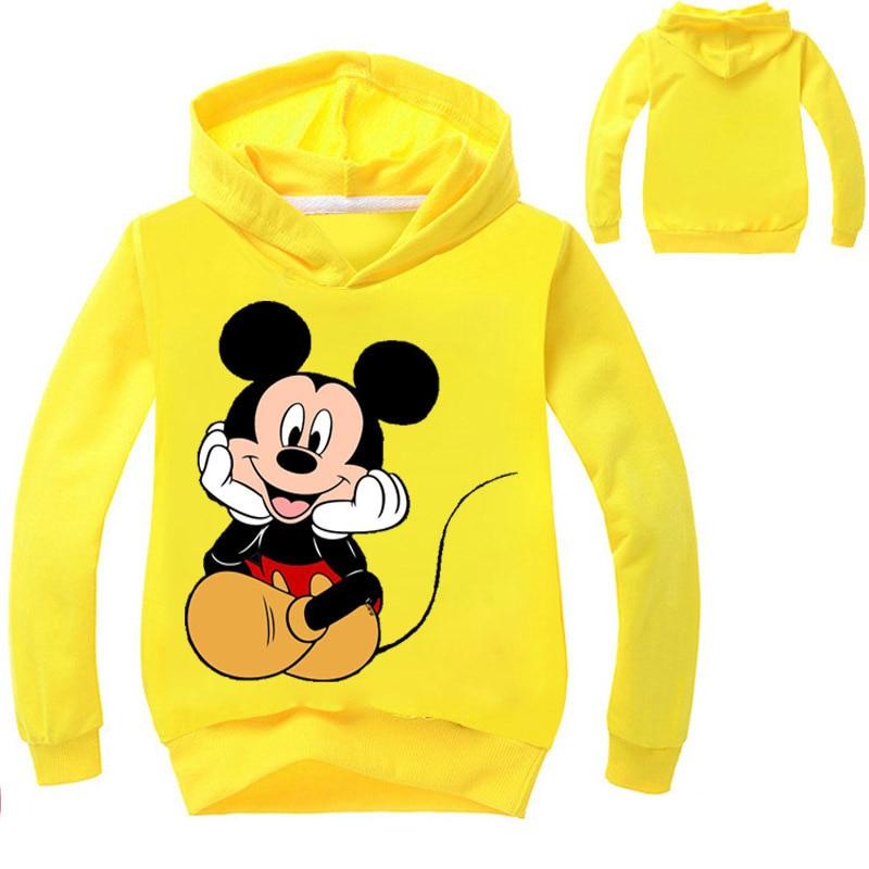 Fashion Mickey Mouse Baby Boys Girls Sweatshirts Cotton Brief Kids Hoodies Letters Print Children Clothes Long Sleeve Sweatshirt