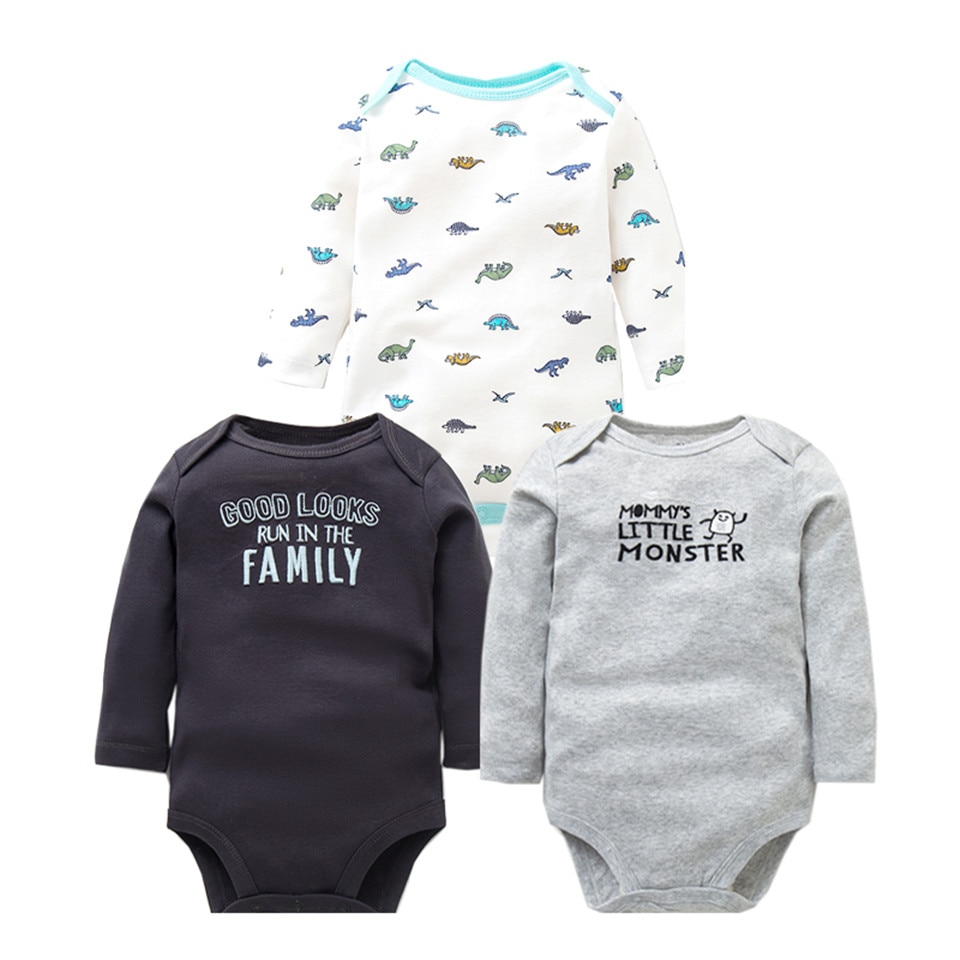 Newborn Baby Clothes 3PCS/Lot Baby Rompers Long Sleeve 100% Cotton Baby Boy Clothes Infant High Quality Baby Jumpsuit 0-24 month