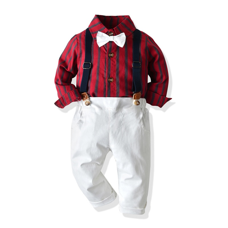 Tem Doger Baby Boy Clothing Sets 2019 Winter Infant Newborn Boys Clothes Striped Shirts+Overalls 2PCS Outfits Bebes Boy Clothing