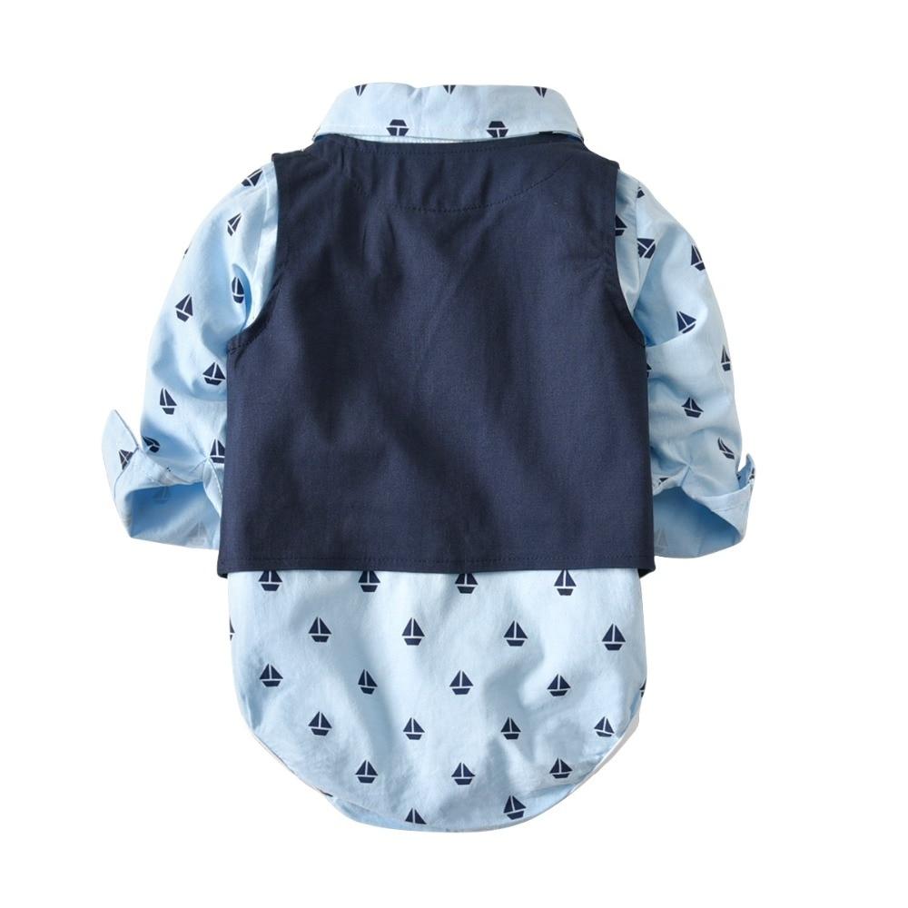 Baby boy clothes Gentleman Rompers + Vest + pants spring Fashion newborn clothing set Baby Suit Bow Tie Conjuntos bebe roupa
