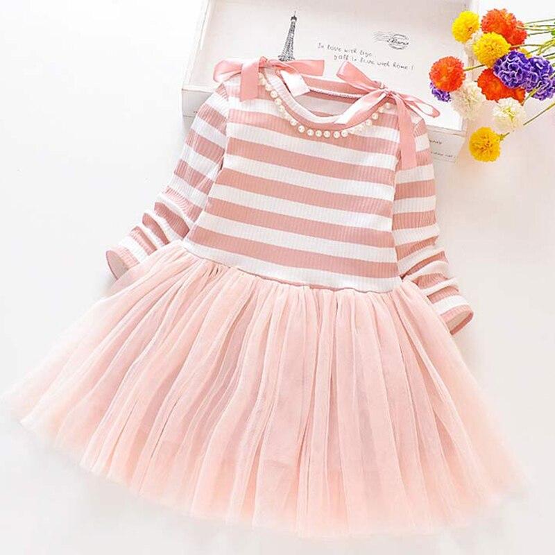 2021 New Girls Dress Autumn Spring Cute Mesh Long Sleeve Princess Dress for Girl Kids Party Dress 2 6 7 Years Kids Clothing