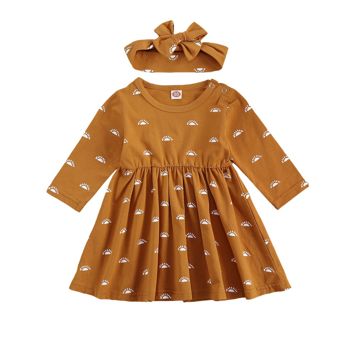 Ma&Baby 0-24M Autumn Sprint Long Sleeve Toddler Infant Baby Girls Dress Newborn Sun Print  Dresses For Girls