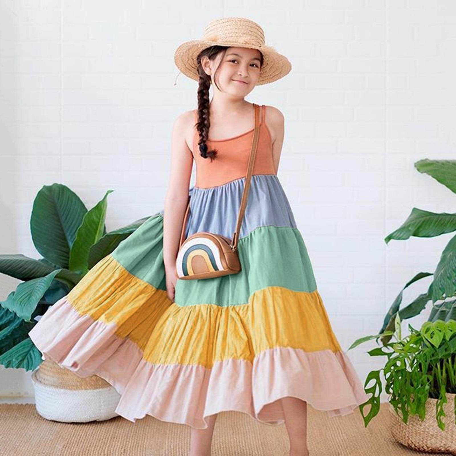 #50 Toddler Baby Girls Sleeveless Rainbow Beach Suspender Dress Princess Dresses Autumn Newborn Infant Baby Dress