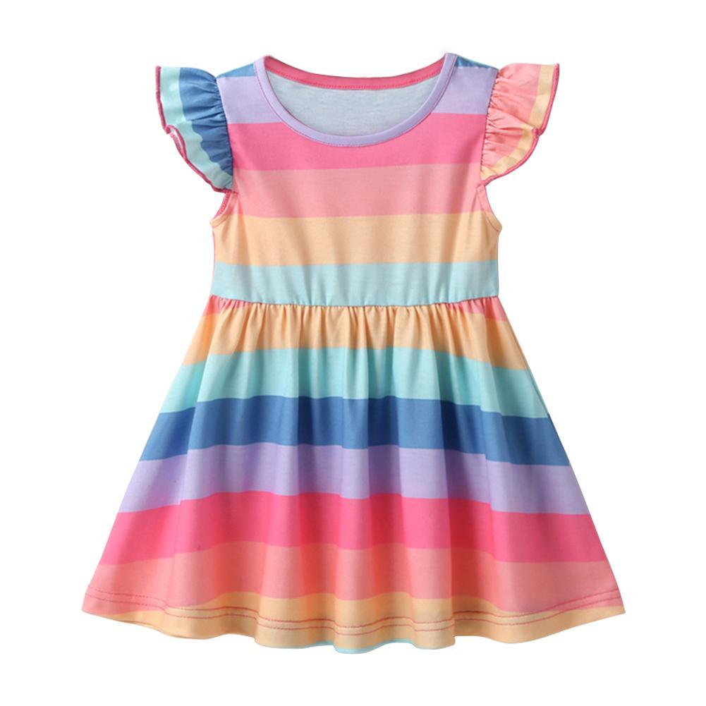 Baby Kid Girl Dresses Summer Comfortable Soft Round Neck Splicing Rainbow Stripe Printing Ruffled Sleeveless Princess Dress