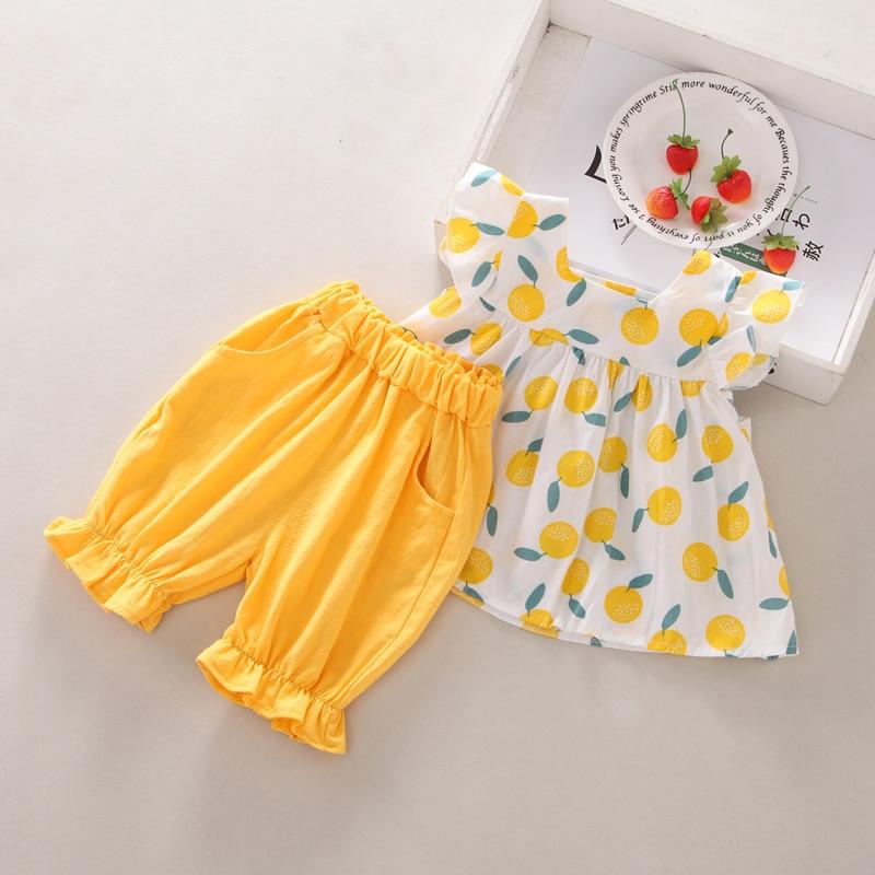 Summer Girls Baby Clothing Set Kids Casual Flare Sleeve Fruit Print T-shirt Tops+Shorts Girls Suits Children Costume Set