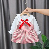 Bear Leader Baby Girl Costume 2021 New Girls Autumn Cute Dresses 6-24M Chlidren Plaid Princess Dress with Bow Tie Spring Clothes