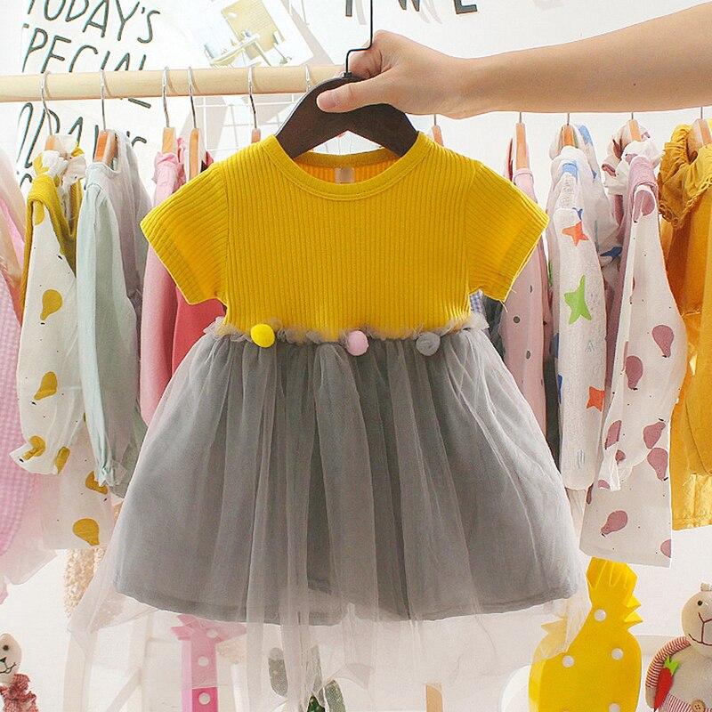 Children's Clothing 2021 Summer New Baby Dress Girls Mesh Dress Rose Flower Baby Girl Dress Kids Splicing Dress 1 2 3 Years Old