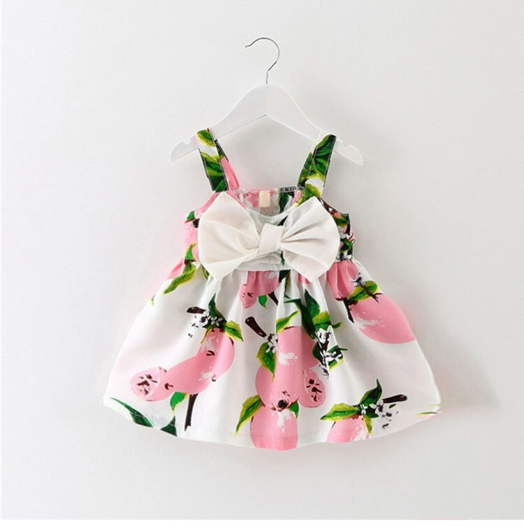 Infant baby clothes brand design sleeveless print bow dress 2016 summer girls baby clothing cool cotton party princess dresses
