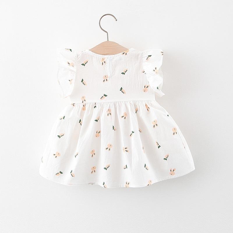 Toddler Children Dress Infant Girl Short Sleeve Printed Princess Dress Summer Cute Baby Bow Dress 0-24 Months