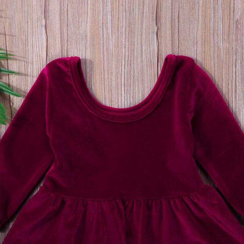 Infant Toddler Baby Girl Party Pageant Long Sleeve Dress Princess Tutu Velvet Dresses 0-24M