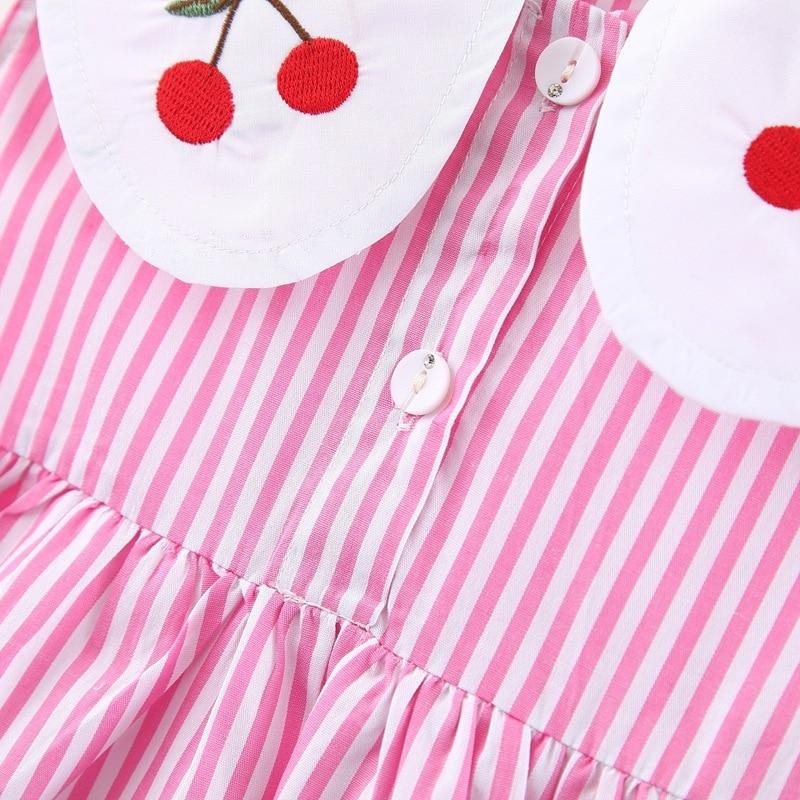 Summer New Baby Girls Cherry Embroidered Doll Collar Cute Dress Striped Sleeveless Princess Dress kids baby girl cloths