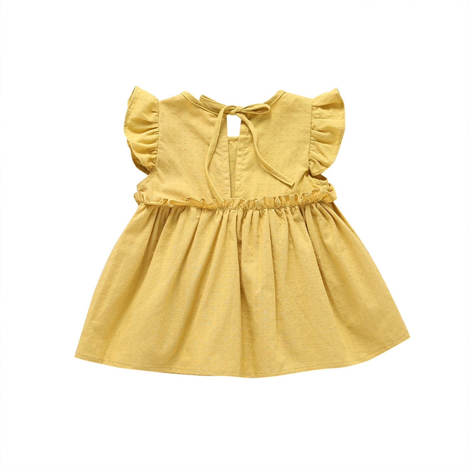 Girls Short Sleeve Flying Sleeve Solid Color Dress Princess Dress Baby Girls Solid Casual Ruffle Simplicity Dress Party Princess