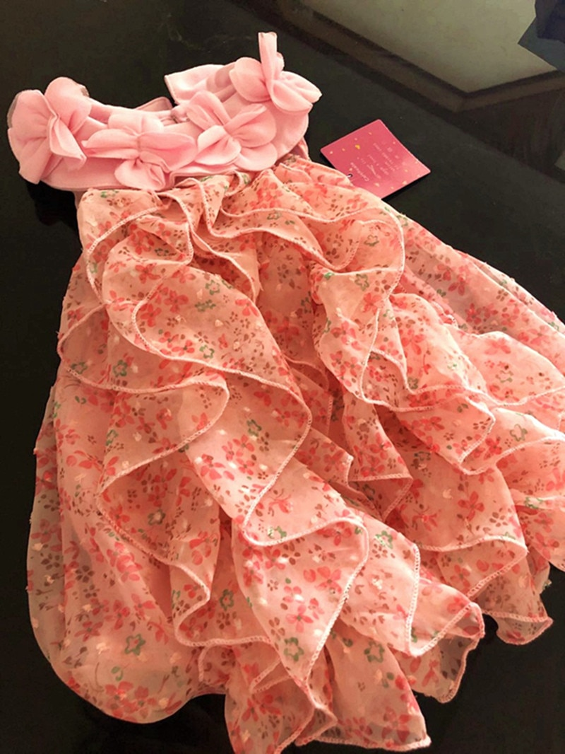 Floral Flowers Baby Girl Chiffon Dress 2021 Summer Sleeveless Party Dresses Infant Girls Clothes