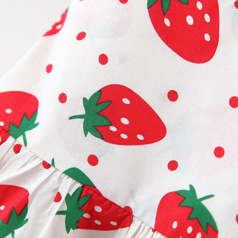 LZH 2021 Summer Sleeveless Thin Section Clothes For Children Strawberry Print Kids Princess Dress Send Hat New Baby Girls Dress