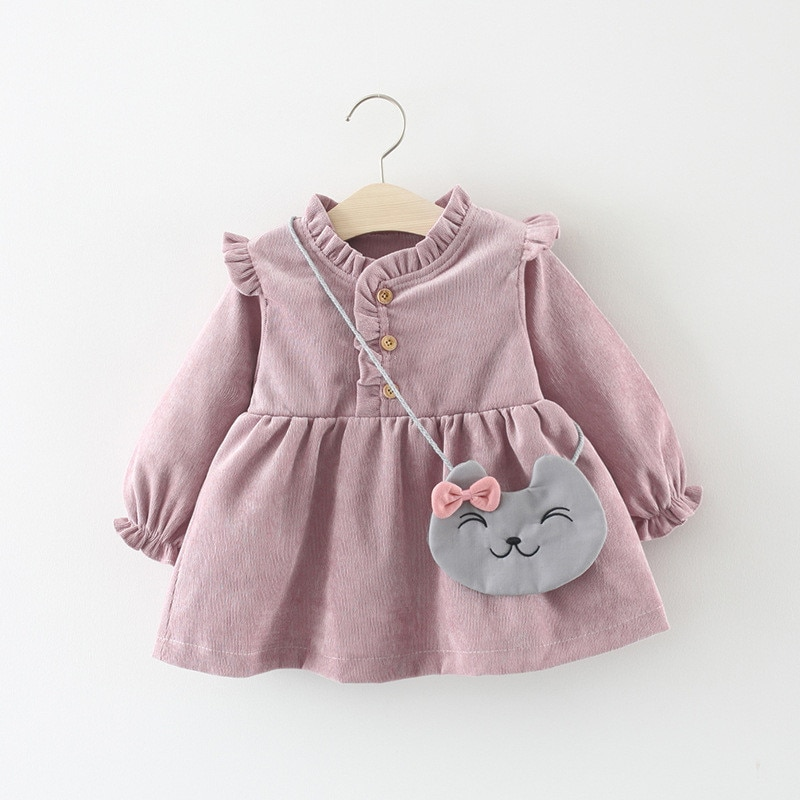 Baby Clothing 2020 Spring Cute Baby Girls Princess Dress Velvet Long Sleeve Dress Party Dresses Baby Clothes With Cat Bag