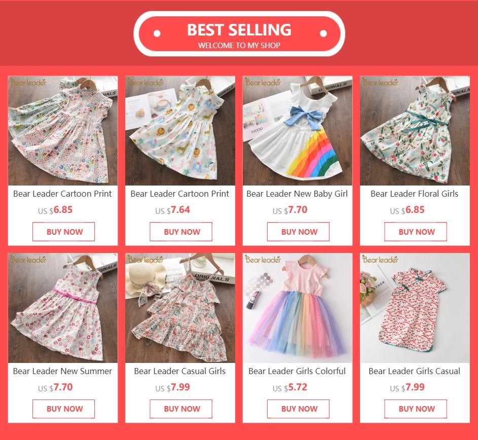 Bear Leader Newborn Baby Dresses 2021 New Toddler Baby Cherry Dresses Sweet Summer Costumes Girls Lovely Vestidos Cute Clothing