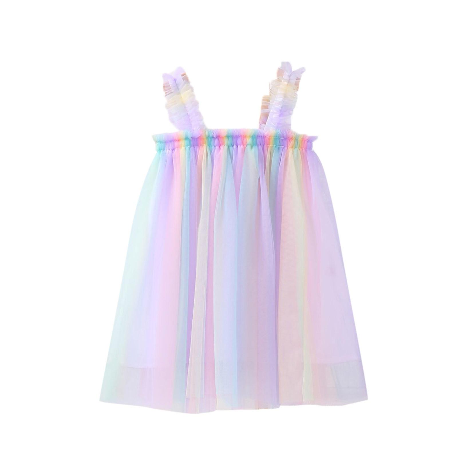 Toddler Baby Kids Girls Strap Sleeveless Tulle Dress Princess Dresses Clothes платье для девочки Summer Baby Girl Dress 2021