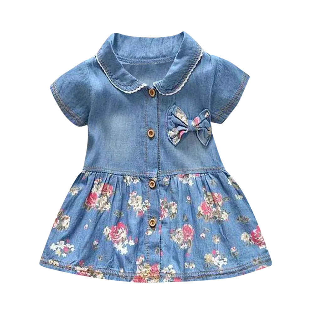 2021 New Summer Toddler Baby Girls Floral Print Bowknot Short Sleeve Princess Denim Dress Outfit kids dresses for girls#5