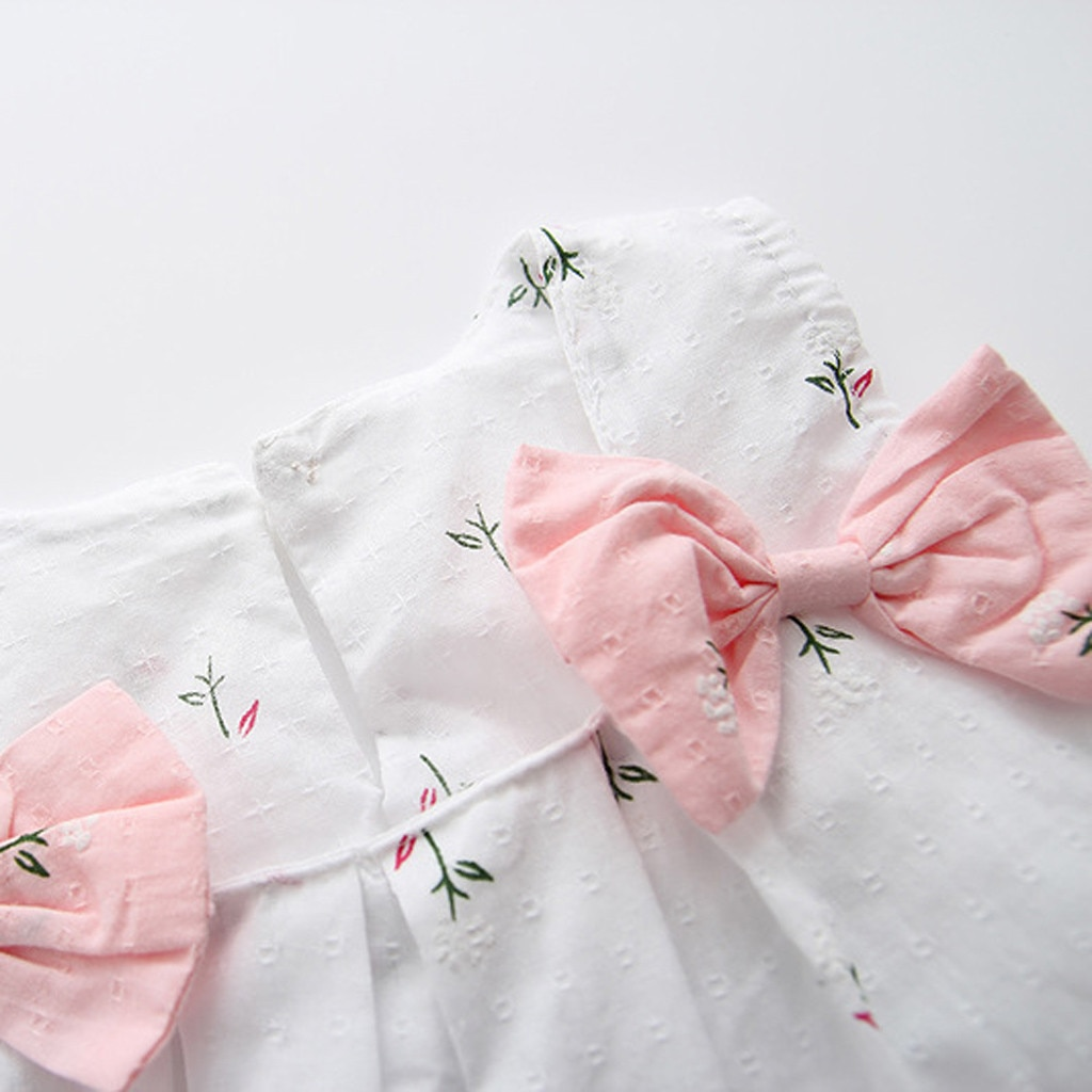 2021Toddler Kid Baby Girls Solid Bow Print Floral Suspender Princess Party  Dress Summer Clothes Roupao Infantil Short Sleev#45