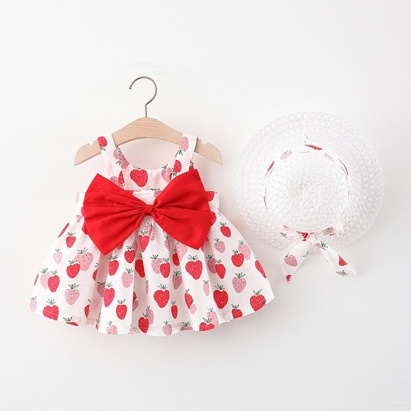 Bear Leader New Baby Girl Dress Summer Bow Print Dress with Hat 2 Piece Baby Clothes Suits Bohemia Newborn Infant Toddler Dress