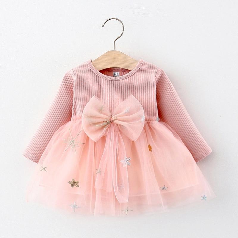 Melario Baby Girls Dress Autumn Winter Newborn Baby Dress Sweet Bow Long Sleeve Princess Dresses Kids Dress Clothes