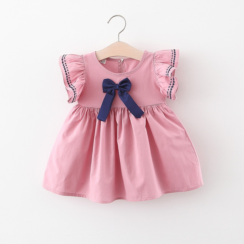 Summer Girls Party Dress Baby Infant Newborn Girls Bow Style Clothing Kids Girls Cotton Cute Dress For Toddler Girls Clothes