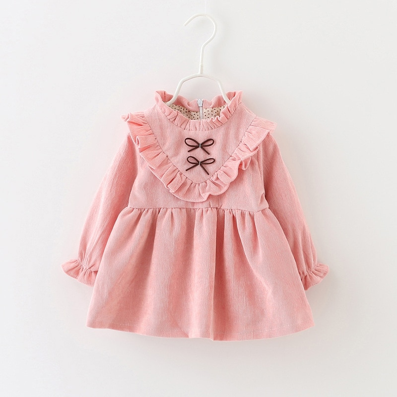 LZH Korean Autumn Long Sleeve Baby Dress Cotton Infant Dress Kids Party Dresses For Baby Girls Dresses Newborn Clothes 0-3 Years